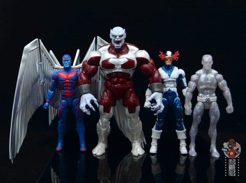 marvel legends build a figure caliban figure review - scale with archangel, cyclops and iceman