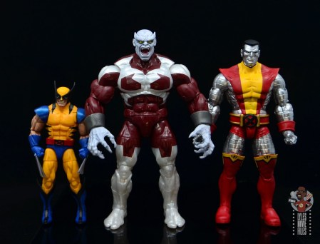 marvel legends build a figure caliban figure review - scale with wolverine and colossus