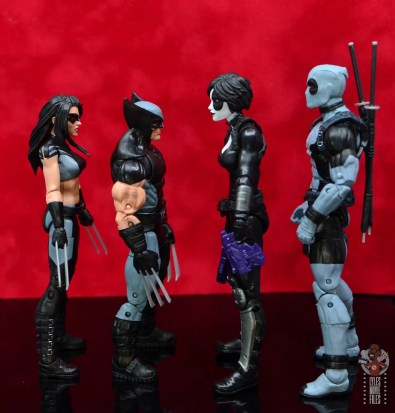 marvel legends x-force wolverine figure review - facing x-23, domino and deadpool
