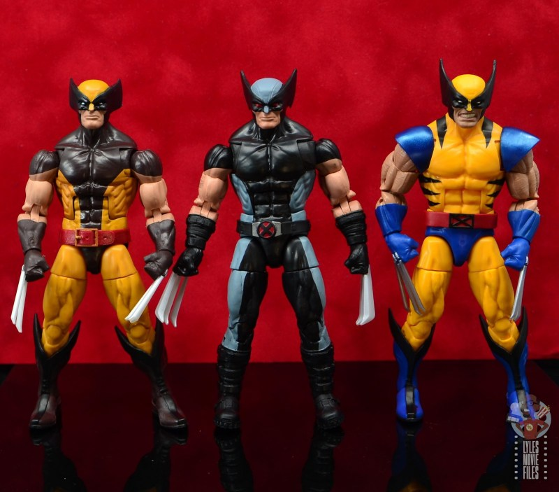 marvel legends x-force wolverine figure review - scale with orange and brown and yellow and blue wolverines