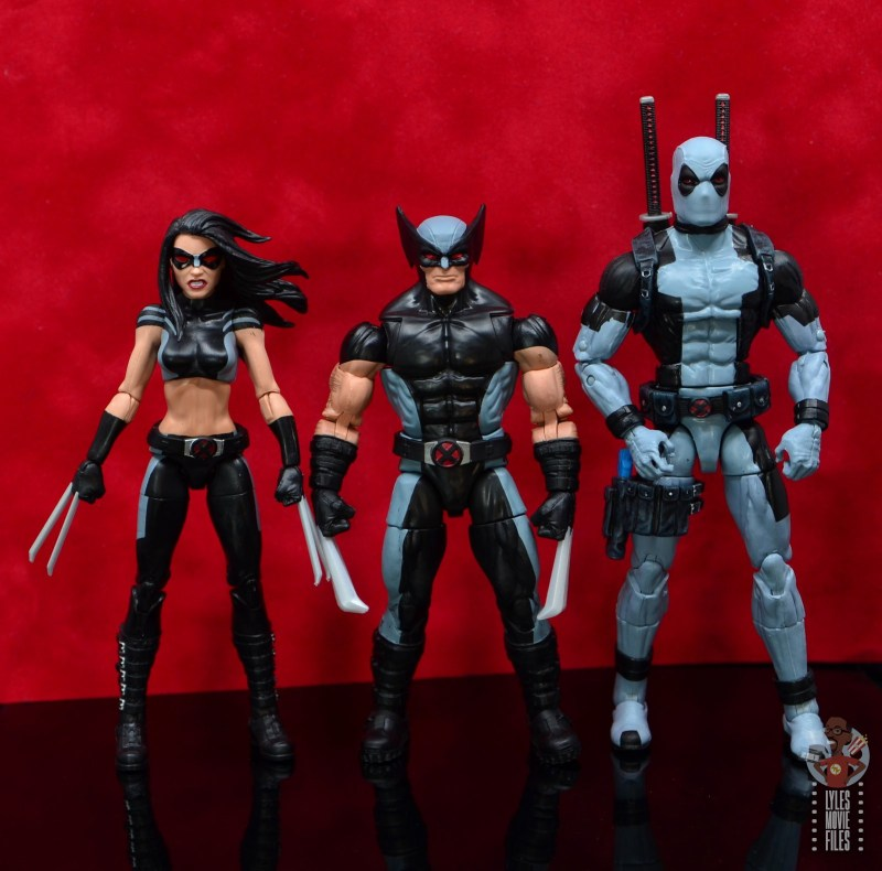 marvel legends x-force wolverine figure review - scale with x-23 and deadpool