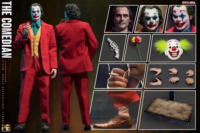 toy era the comedian joker figure - collage
