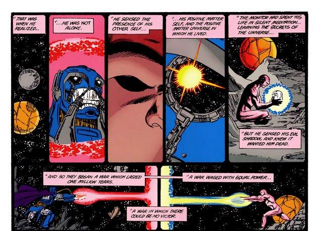 crisis on infinite earths #7 - anti-monitor vs the monitor