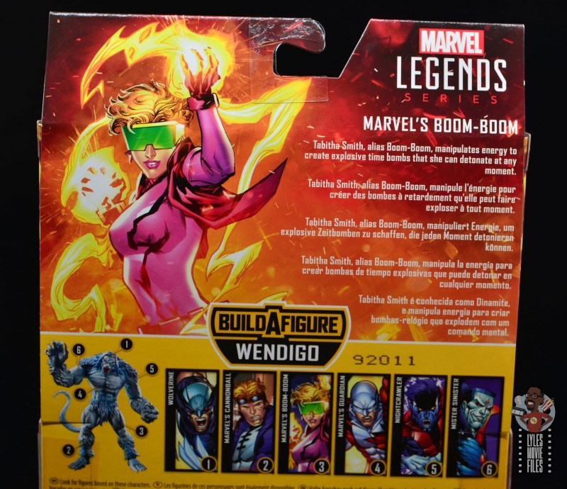 marvel legends boom-boom figure review - package bio