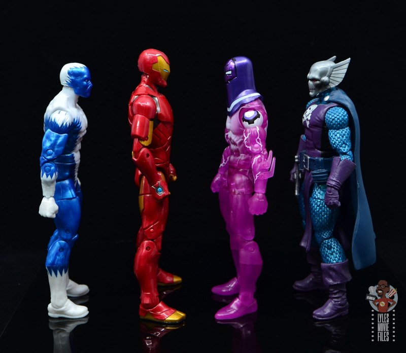 marvel legends living laser figure review - facing blizzard, iron man and dreadknight