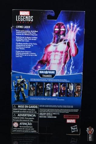 marvel legends living laser figure review - package rear