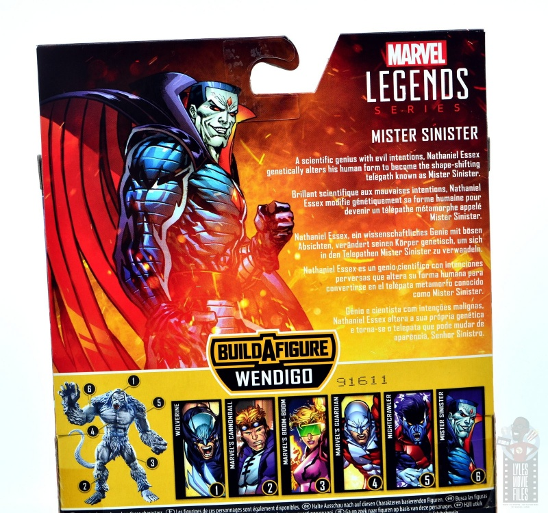 marvel legends mister sinister figure review - package bio