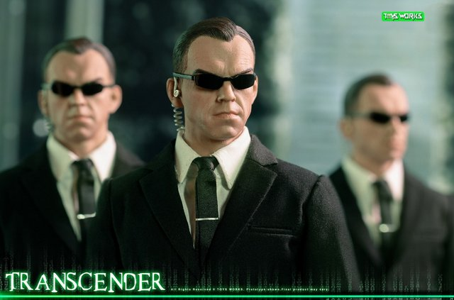 transcender the matrix agent smith figure - wide shot with multiple agent smiths