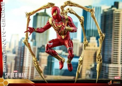 hot toys spider-man iron spider armor figure - close up