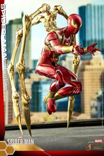 hot toys spider-man iron spider armor figure - standing on legs