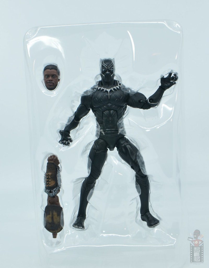 marvel legends black panther civil war 2019 figure review -accessories in tray