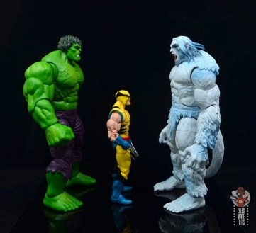 marvel legends wendigo figure review - facing hulk and wolverine