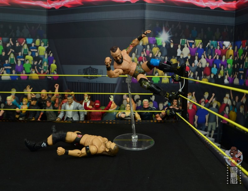 wwe elite 65 eric young figure review - flying elbow drop