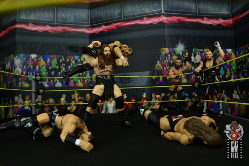wwe elite killian dain figure review -fireman carry slam to kyle o'reilly