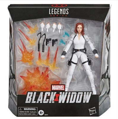 Black Widow Marvel Legends 6-Inch Deluxe White Costume Action Figure with Stand - package front