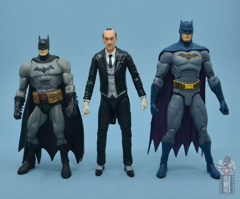 dc multiverse alfred figure review -scale with dc classics batman and dc essentials batman