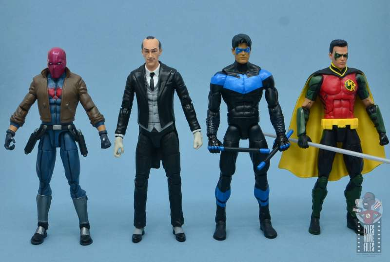 dc multiverse alfred figure review - scale with dc essentials batman, multiverse red hood, nightwing and red robin
