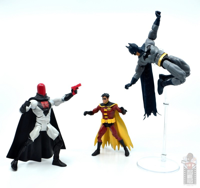 dc multiverse dick grayson batman figure review - dodging red hood
