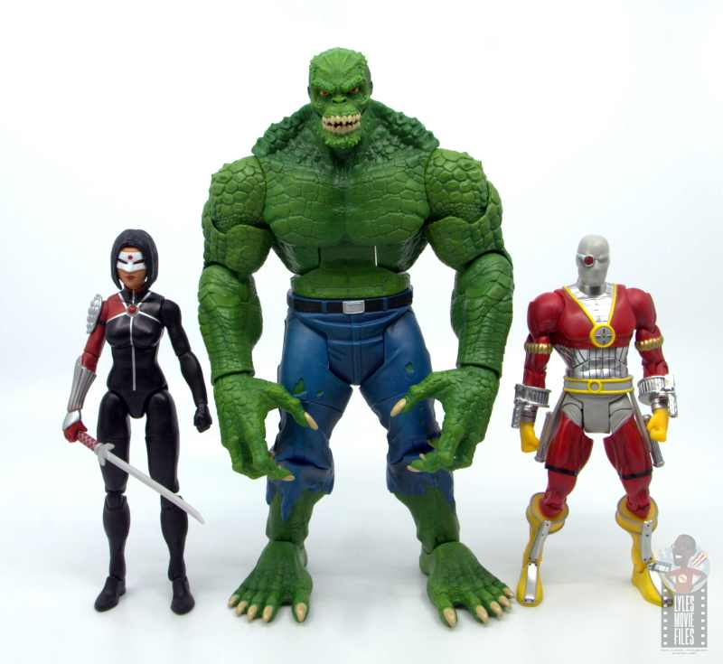 dc multiverse killer croc figure review - scale with dc multiverse katana and deadshot