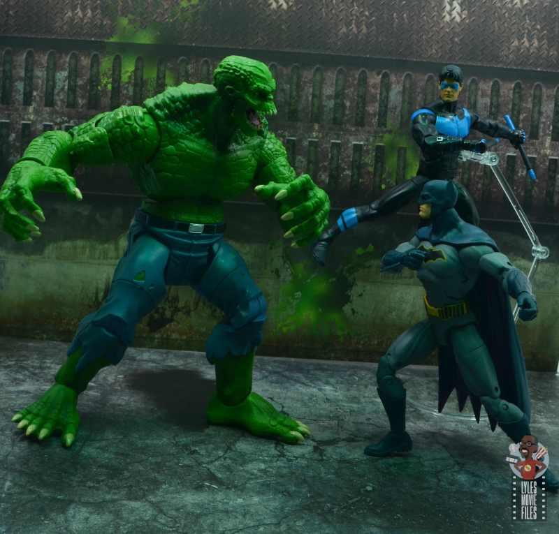 dc multiverse killer croc figure review - vs dc essentials batman and dc multiverse nightwing