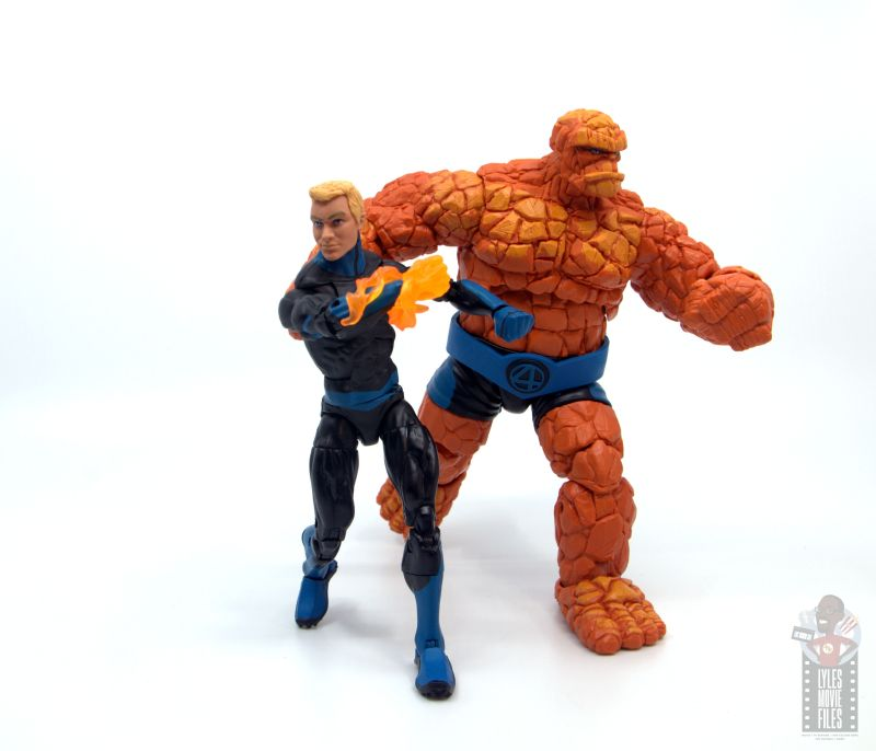 marvel legends human torch figure review - ready for battle with thing