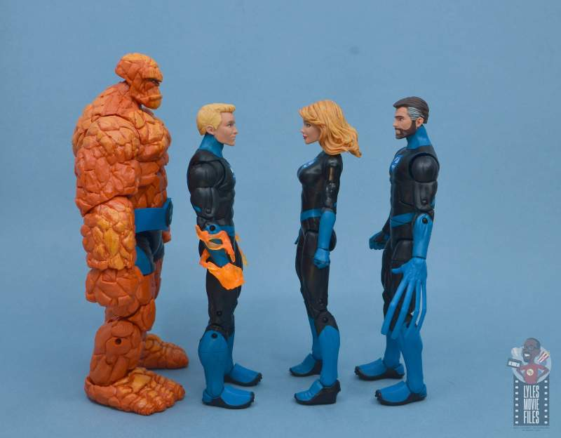 marvel legends invisible woman figure review -facing modern thing, johnny storm and reed richards
