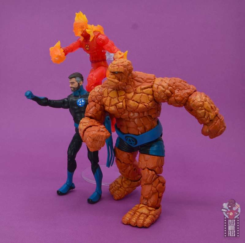 marvel legends mister fantastic figure review - going into battle with human torch and the thing