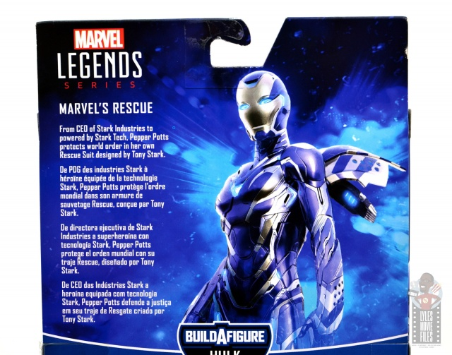 marvel legends rescue figure review -package bio
