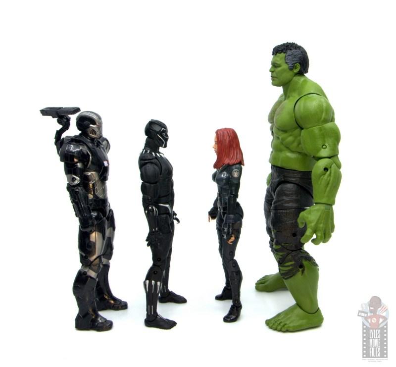 marvel legends smart hulk figure review - facing war machine, black panther and black widow