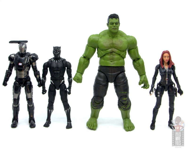 marvel legends smart hulk figure review - scale with war machine, black panther and black widow