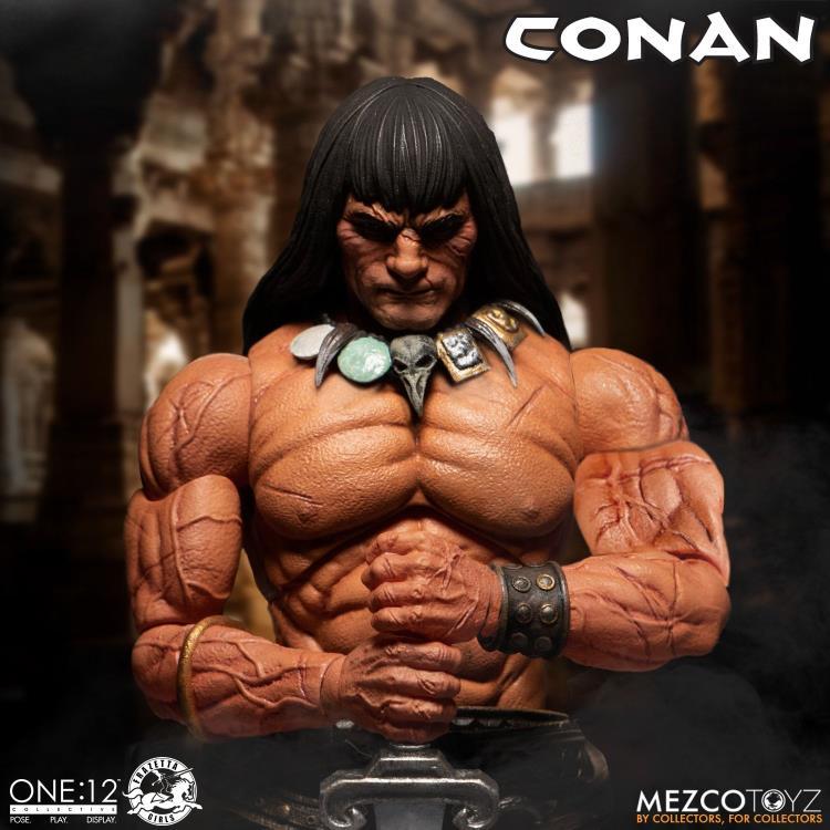 mezco toyz one 12 conan figure -musculature detail