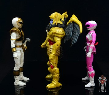 power rangers lightning collection goldar figure review - facing white ranger and pink ranger