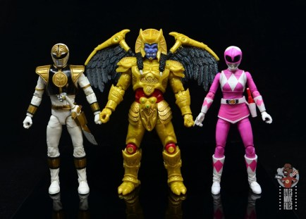 power rangers lightning collection goldar figure review - scale with white ranger and pink ranger