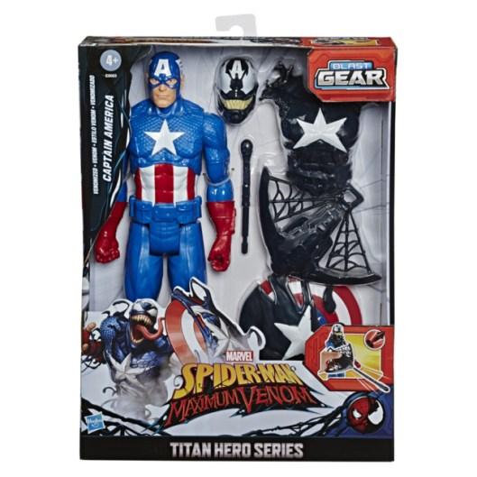 SPIDER-MAN MAX VENOM TITAN HERO BLAST GEAR VENOMIZED CAPTAIN AMERICA Figure - in pck