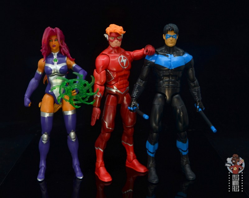 dc multiverse wally west figure review - with starfire and nightwing