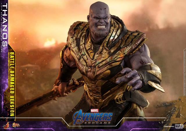 hot toys avengers endgame thanos battle damaged figure -close up blade shot