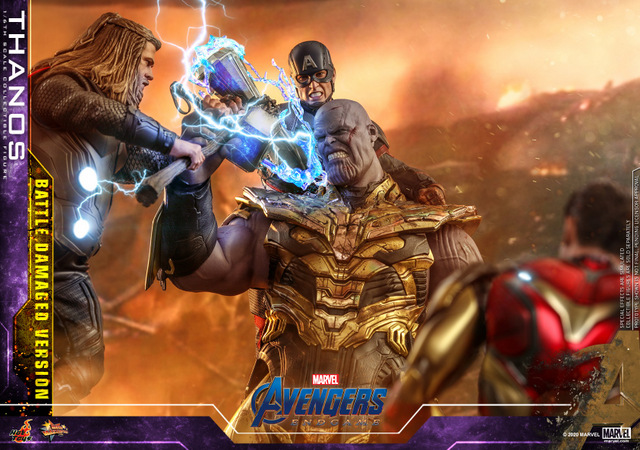 hot toys avengers endgame thanos battle damaged figure -vs thor, captain america and iron man