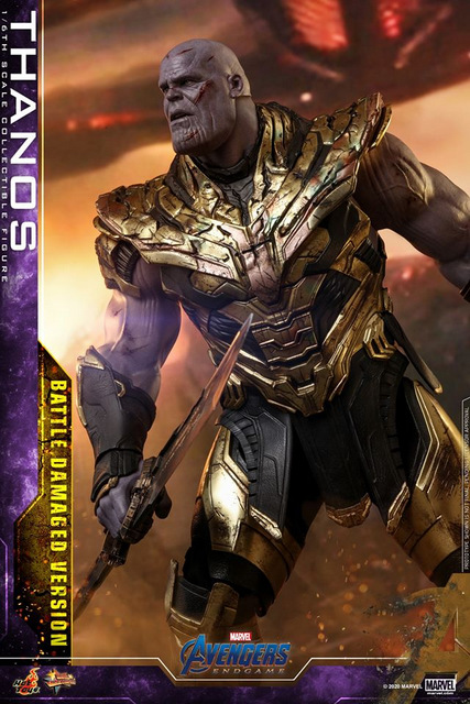 hot toys avengers endgame thanos battle damaged figure - watching forces fade out