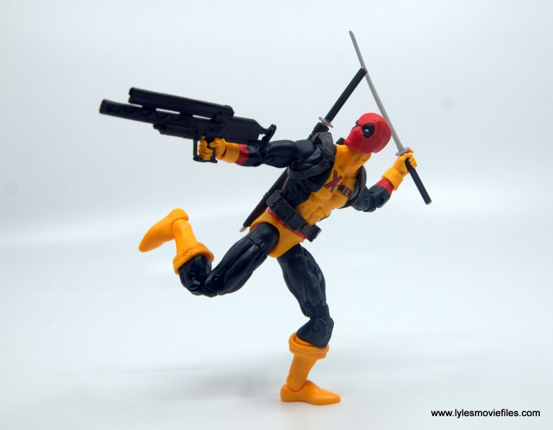 marvel legends deadpool figure review - running and shooting