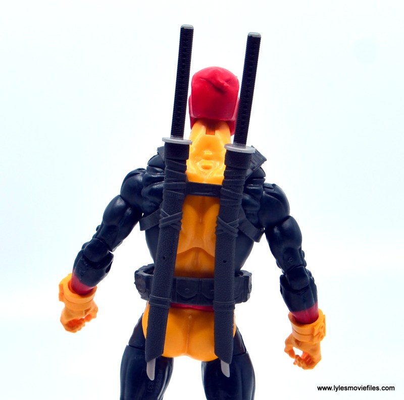 marvel legends deadpool figure review - sword holster detail