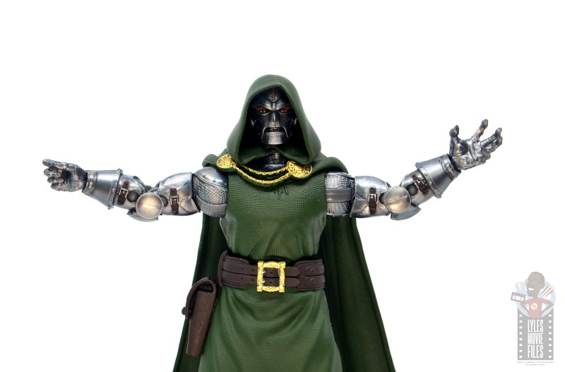 marvel legends doctor doom figure review - arms out