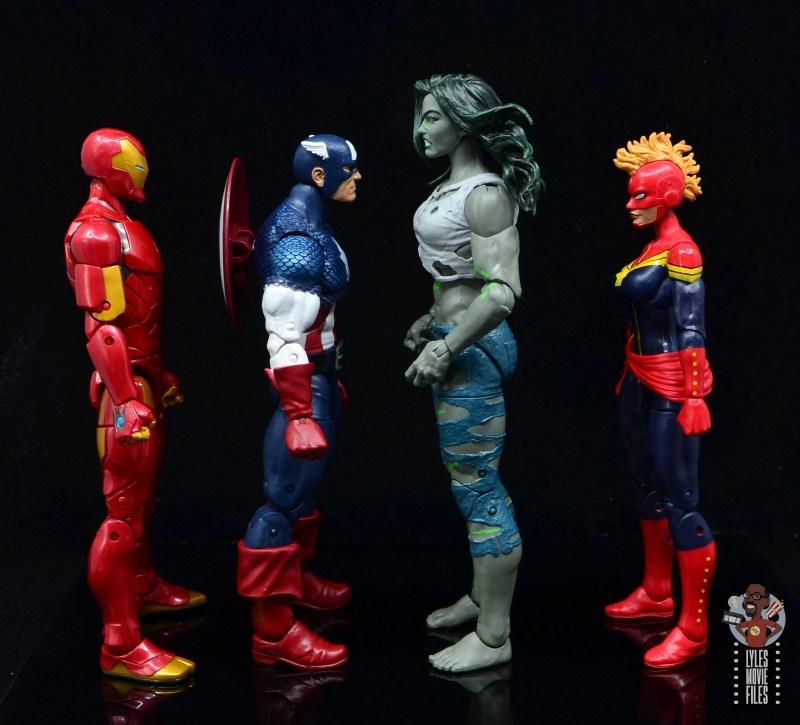 marvel legends she-hulk figure review - facing iron man, captain america and captain marvel