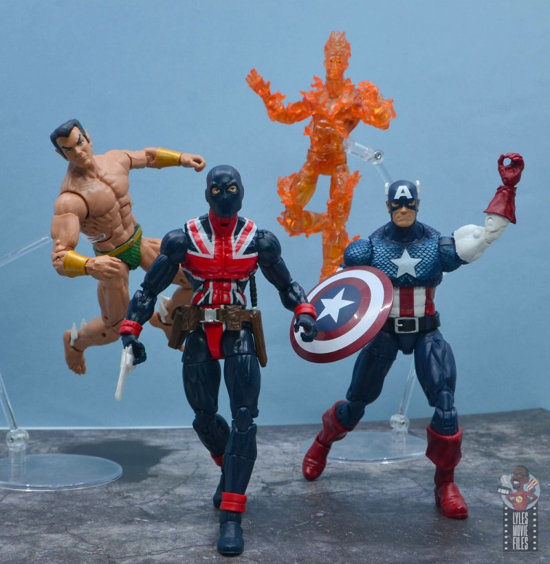 marvel legends union jack figure review - charging in battle with the invaders