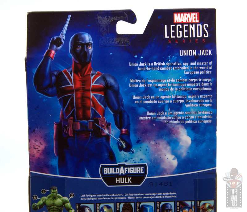 marvel legends union jack figure review -package bio