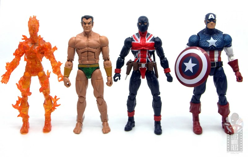 marvel legends union jack figure review - scale with human torch, sub-mariner and captain america