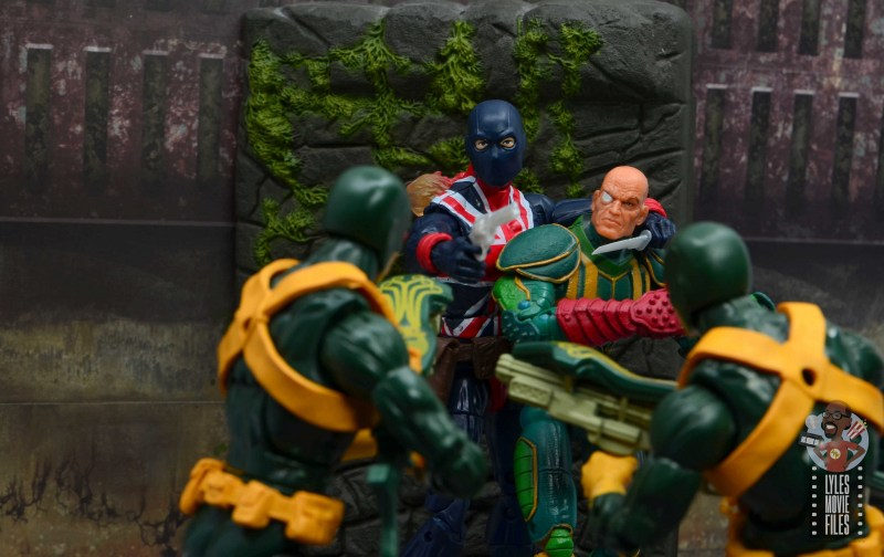 marvel legends union jack figure review -trying to escape with baron von strucker