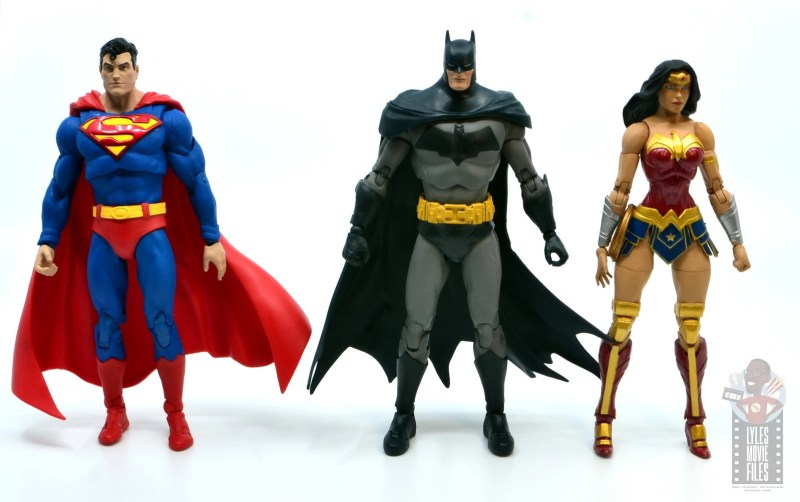 mcfarlane dc multiverse baman figure review - scale with superman and dc essentials wonder woman