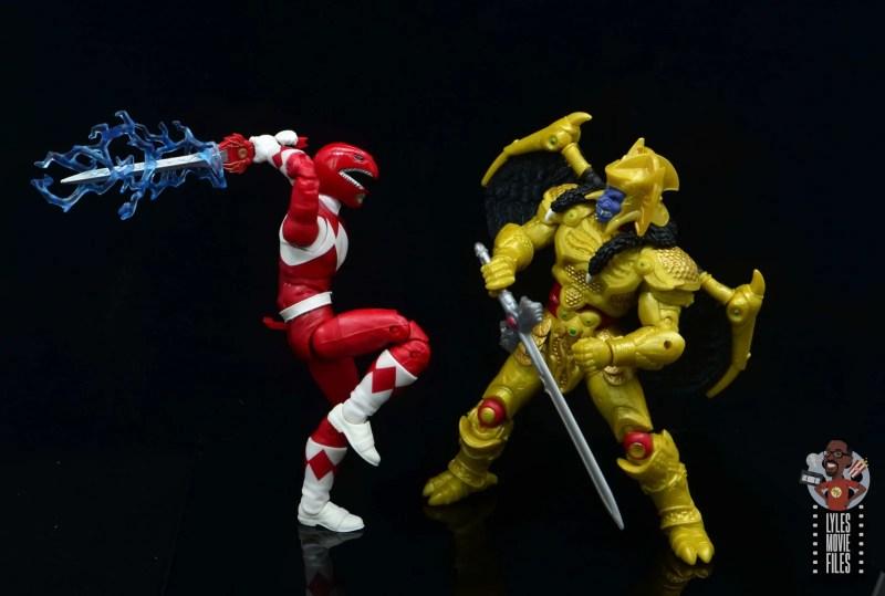 power rangers lightning collection red ranger figure review -lighting sword vs goldar