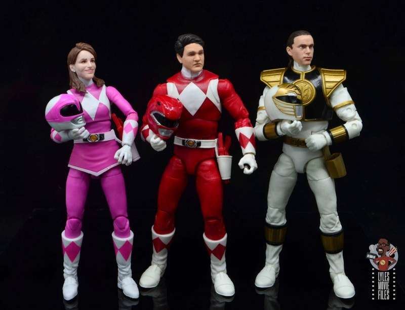 power rangers lightning collection red ranger figure review - unmasked pink, red and white rangers