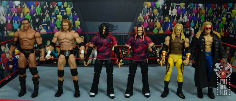 wwe elite the hardy boyz figure set review - scale with the rock, triple h, edge and christian